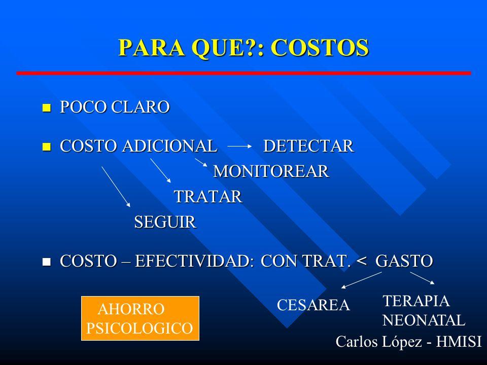 POCO CLARO POCO CLARO COSTO ADICIONAL DETECTAR COSTO ADICIONAL DETECTAR MONITOREAR MONITOREAR TRATAR TRATAR SEGUIR SEGUIR COSTO – EFECTIVIDAD: CON TRAT.