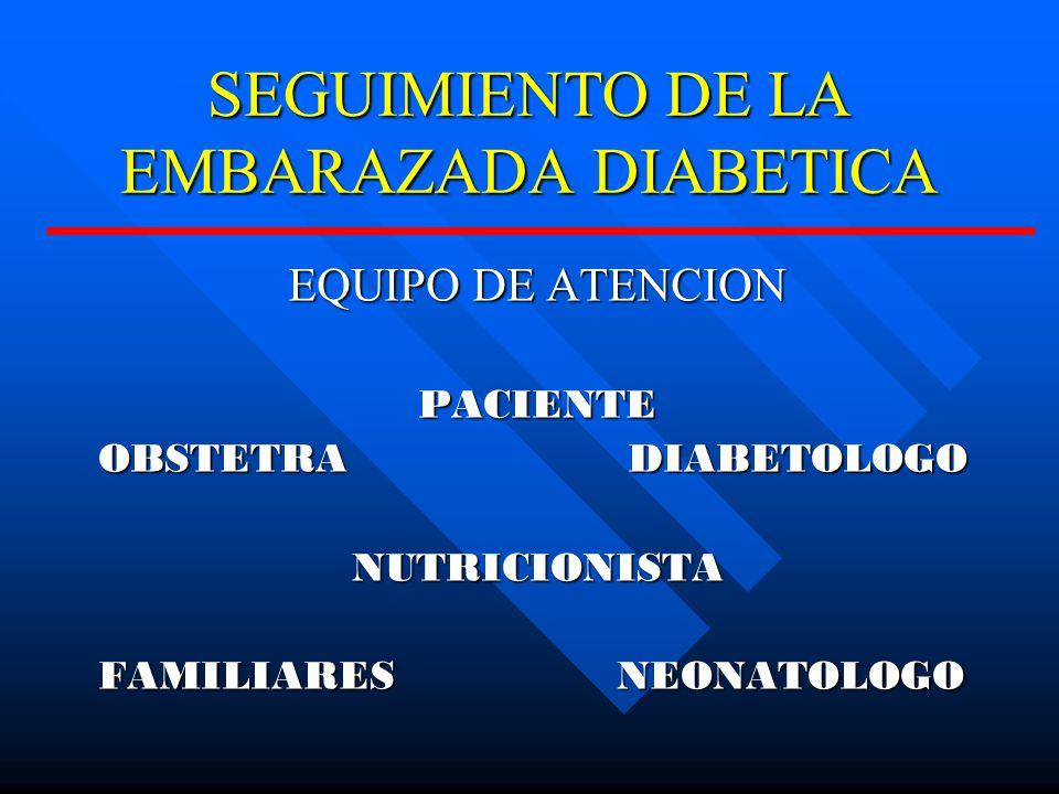 SEGUIMIENTO DE LA EMBARAZADA DIABETICA EQUIPO DE ATENCION PACIENTE OBSTETRADIABETOLOGO NUTRICIONISTA FAMILIARES NEONATOLOGO