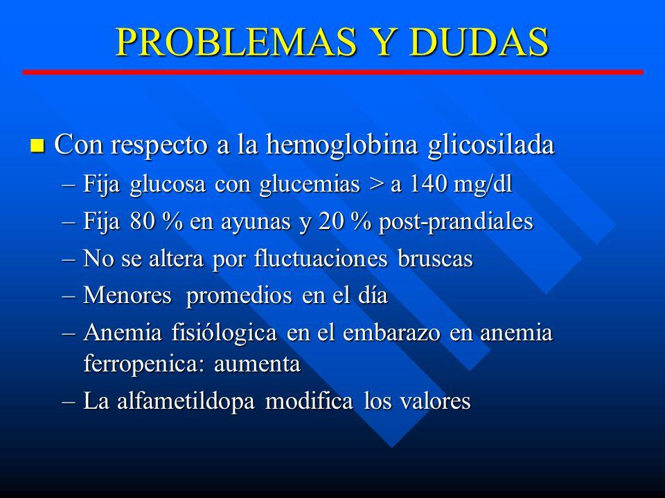 PROBLEMAS Y DUDAS Con respecto a la hemoglobina glicosilada Con respecto a la hemoglobina glicosilada –Fija glucosa con glucemias > a 140 mg/dl –Fija 80 % en ayunas y 20 % post-prandiales –No se altera por fluctuaciones bruscas –Menores promedios en el día –Anemia fisiólogica en el embarazo en anemia ferropenica: aumenta –La alfametildopa modifica los valores