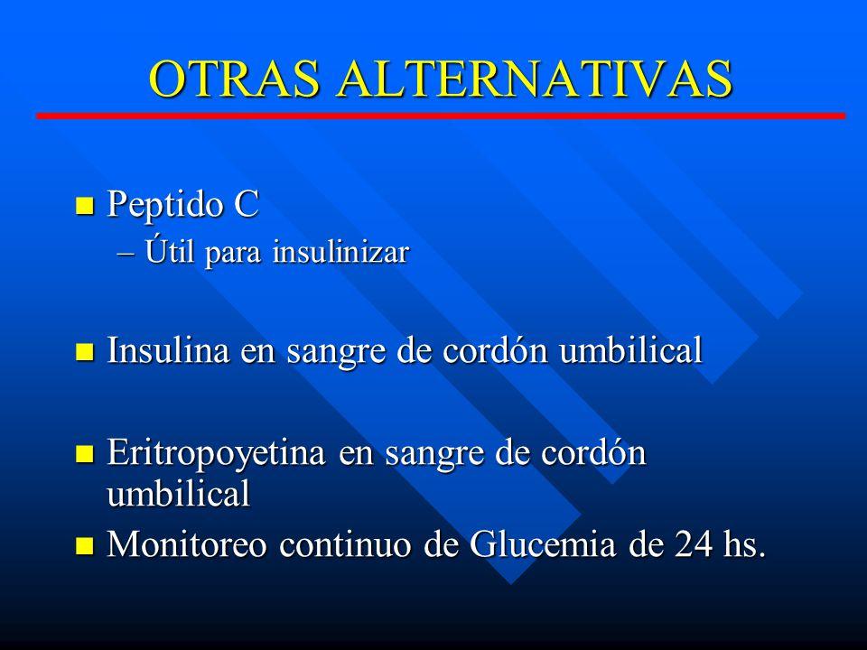 OTRAS ALTERNATIVAS Peptido C Peptido C –Útil para insulinizar Insulina en sangre de cordón umbilical Insulina en sangre de cordón umbilical Eritropoyetina en sangre de cordón umbilical Eritropoyetina en sangre de cordón umbilical Monitoreo continuo de Glucemia de 24 hs.