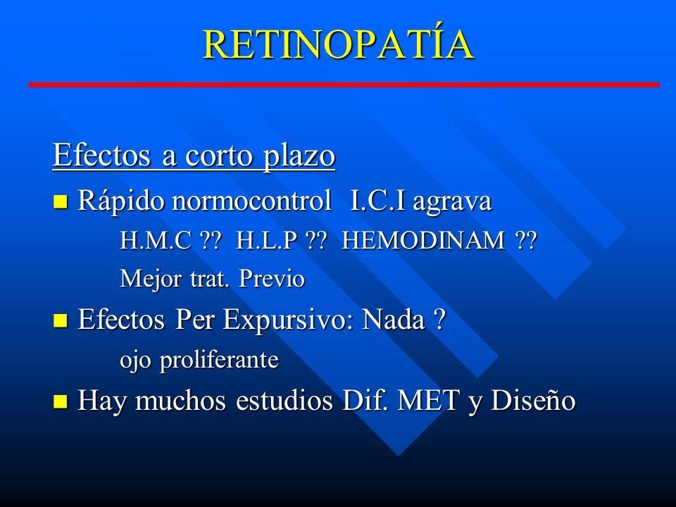 RETINOPATÍA Efectos a corto plazo Rápido normocontrol I.C.I agrava Rápido normocontrol I.C.I agrava H.M.C ?.
