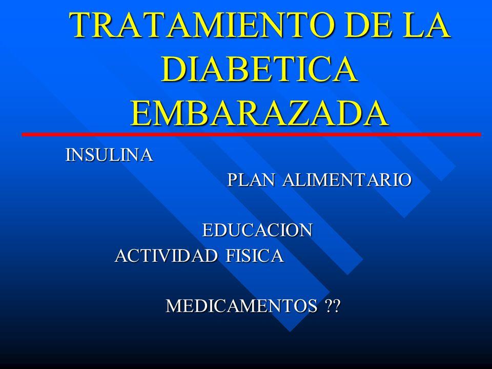 TRATAMIENTO DE LA DIABETICA EMBARAZADA INSULINA PLAN ALIMENTARIO PLAN ALIMENTARIOEDUCACION ACTIVIDAD FISICA MEDICAMENTOS ?.