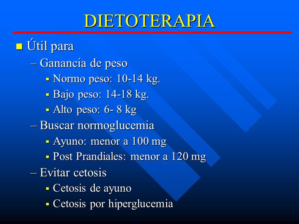 DIETOTERAPIA Útil para Útil para –Ganancia de peso Normo peso: 10-14 kg.
