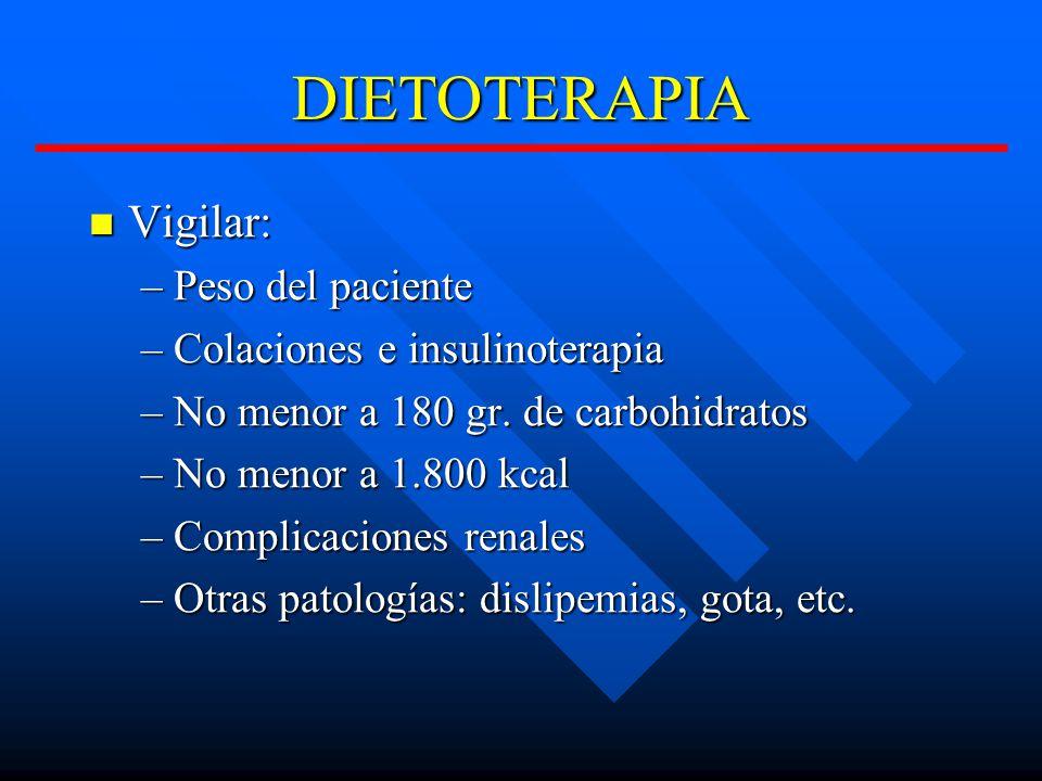 DIETOTERAPIA Vigilar: Vigilar: –Peso del paciente –Colaciones e insulinoterapia –No menor a 180 gr.