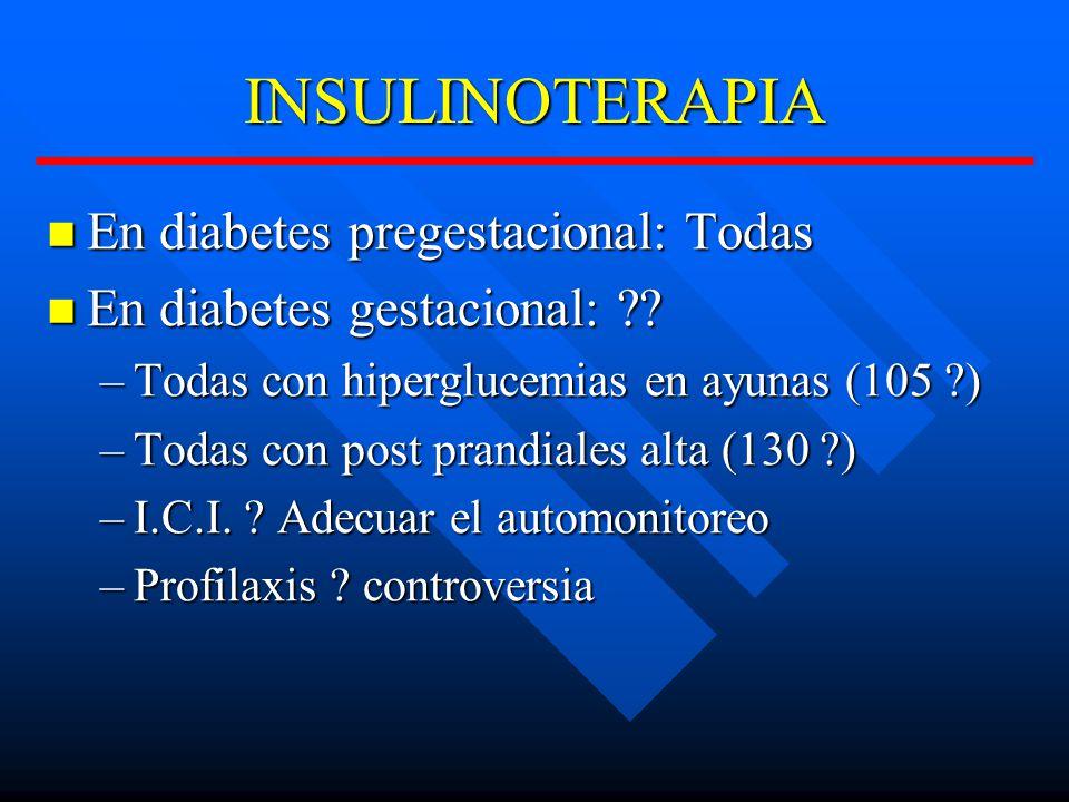 INSULINOTERAPIA En diabetes pregestacional: Todas En diabetes pregestacional: Todas En diabetes gestacional: ?.
