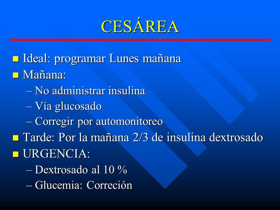 CESÁREA Ideal: programar Lunes mañana Ideal: programar Lunes mañana Mañana: Mañana: –No administrar insulina –Vía glucosado –Corregir por automonitoreo Tarde: Por la mañana 2/3 de insulina dextrosado Tarde: Por la mañana 2/3 de insulina dextrosado URGENCIA: URGENCIA: –Dextrosado al 10 % –Glucemia: Correción