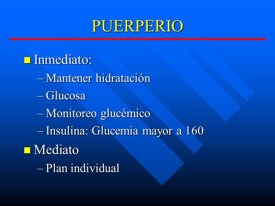 PUERPERIO Inmediato: Inmediato: –Mantener hidratación –Glucosa –Monitoreo glucémico –Insulina: Glucemia mayor a 160 Mediato Mediato –Plan individual