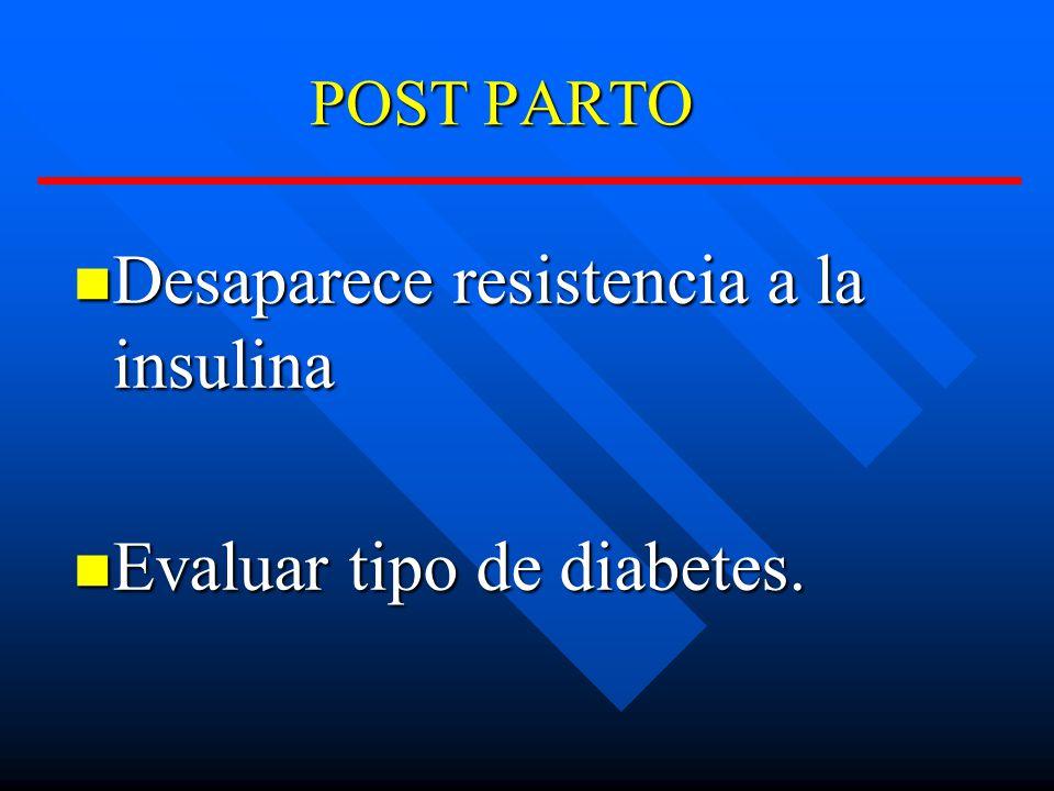 POST PARTO Desaparece resistencia a la insulina Desaparece resistencia a la insulina Evaluar tipo de diabetes.