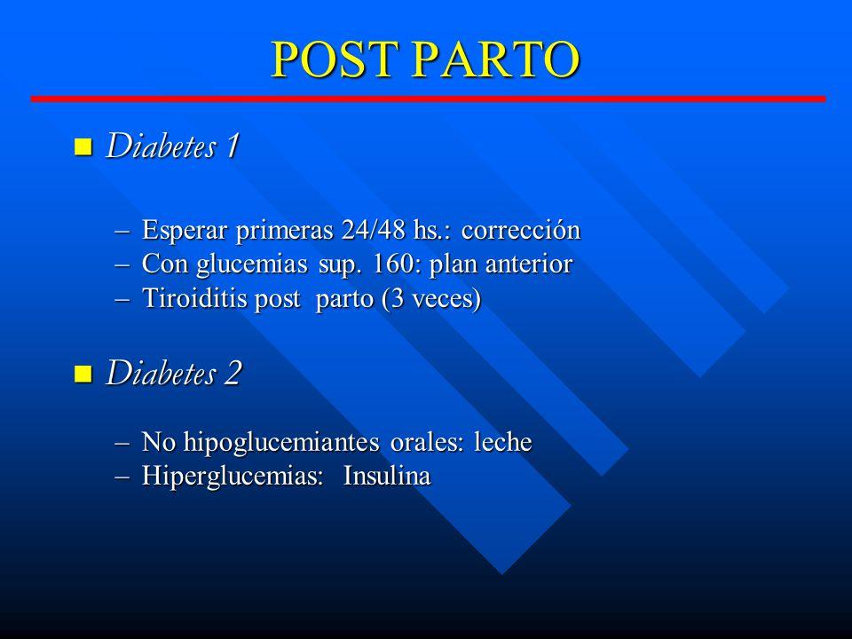POST PARTO Diabetes 1 Diabetes 1 –Esperar primeras 24/48 hs.: corrección –Con glucemias sup.