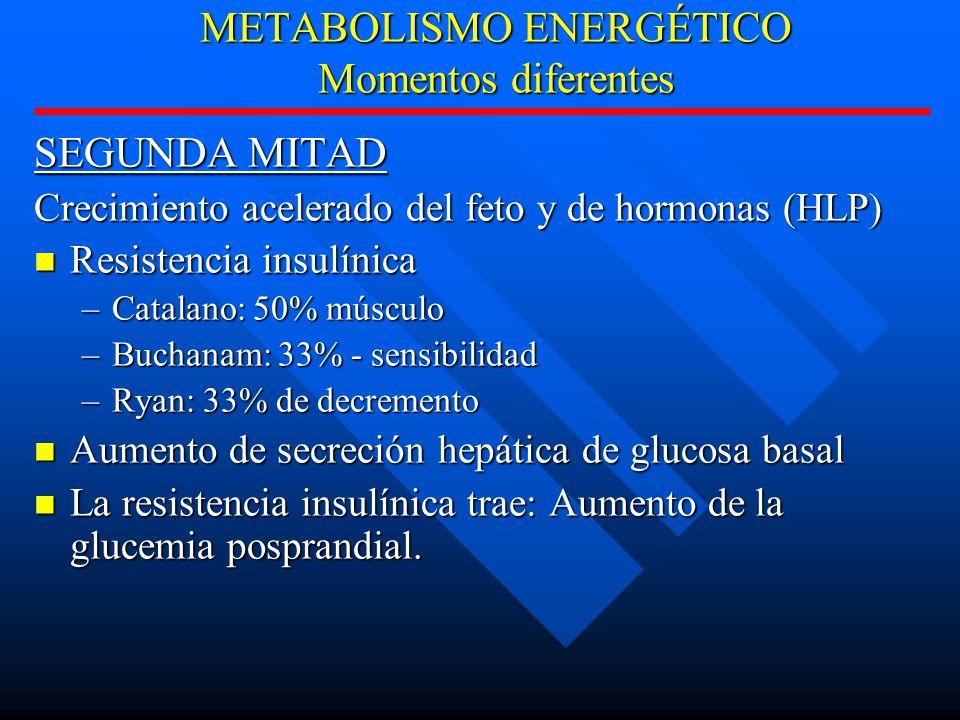 METABOLISMO ENERGÉTICO Momentos diferentes SEGUNDA MITAD Crecimiento acelerado del feto y de hormonas (HLP) Resistencia insulínica Resistencia insulínica –Catalano: 50% músculo –Buchanam: 33% - sensibilidad –Ryan: 33% de decremento Aumento de secreción hepática de glucosa basal Aumento de secreción hepática de glucosa basal La resistencia insulínica trae: Aumento de la glucemia posprandial.