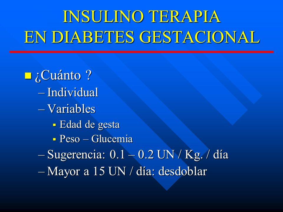 INSULINO TERAPIA EN DIABETES GESTACIONAL ¿Cuánto .