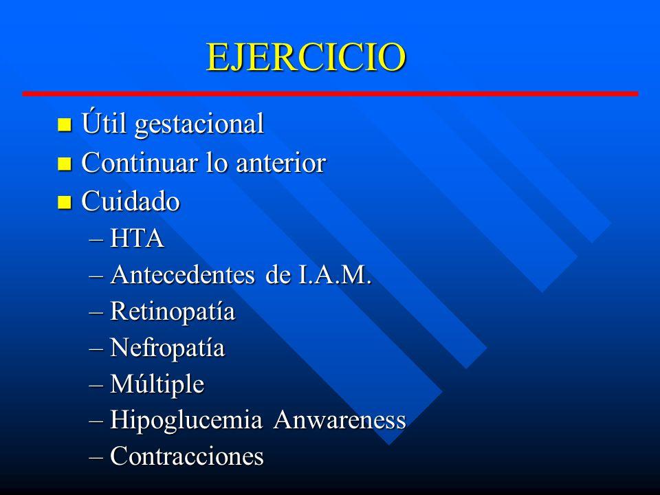 EJERCICIO EJERCICIO Útil gestacional Útil gestacional Continuar lo anterior Continuar lo anterior Cuidado Cuidado –HTA –Antecedentes de I.A.M.