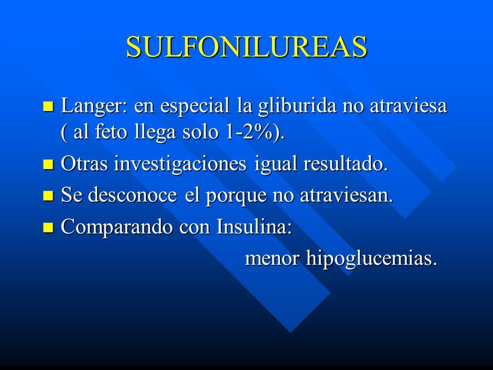 SULFONILUREAS Langer: en especial la gliburida no atraviesa ( al feto llega solo 1-2%).