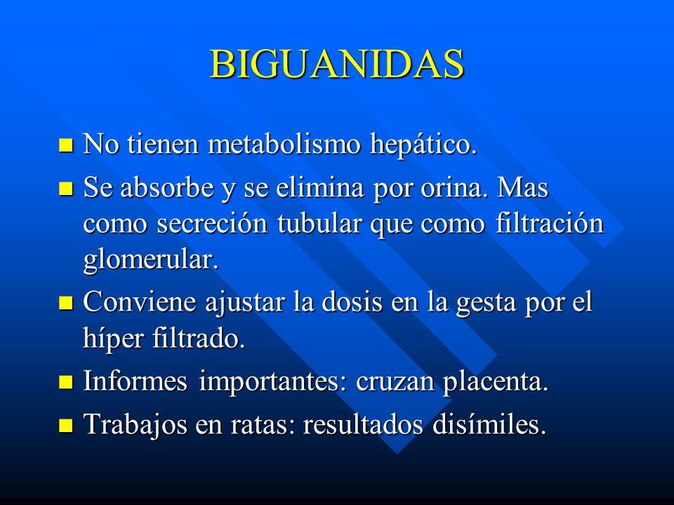 BIGUANIDAS No tienen metabolismo hepático.No tienen metabolismo hepático.
