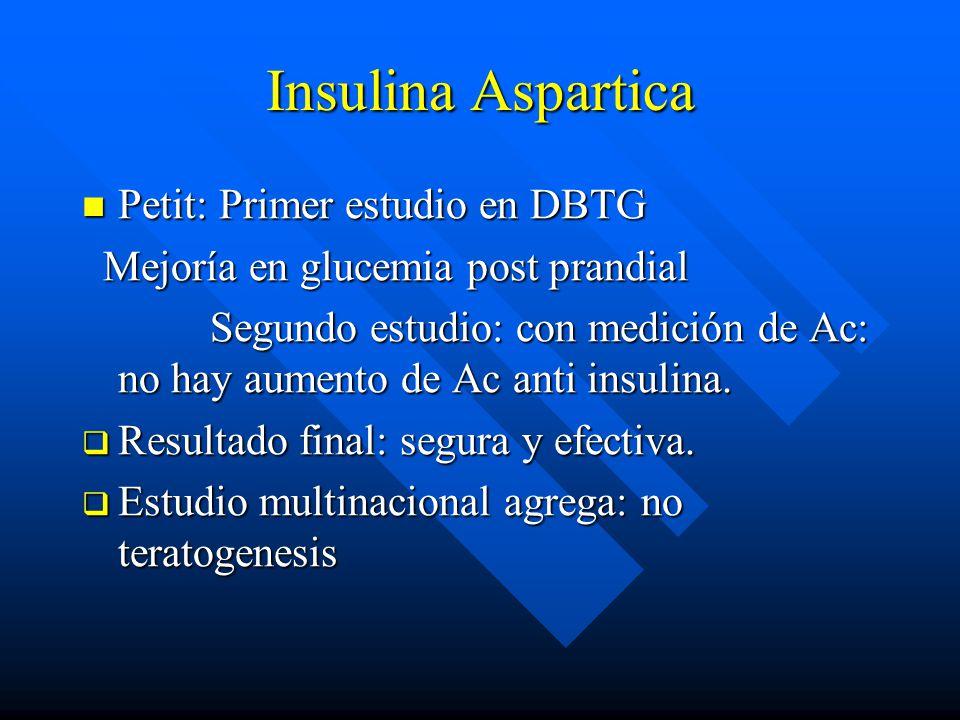 Insulina Aspartica Petit: Primer estudio en DBTG Petit: Primer estudio en DBTG Mejoría en glucemia post prandial Mejoría en glucemia post prandial Segundo estudio: con medición de Ac: no hay aumento de Ac anti insulina.