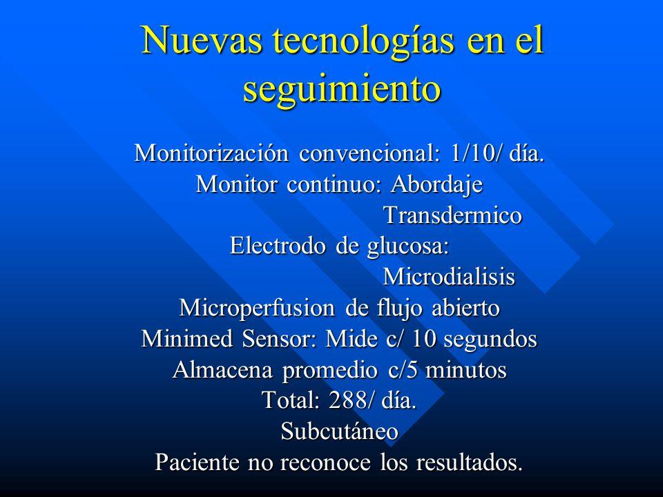 Nuevas tecnologías en el seguimiento Monitorización convencional: 1/10/ día.