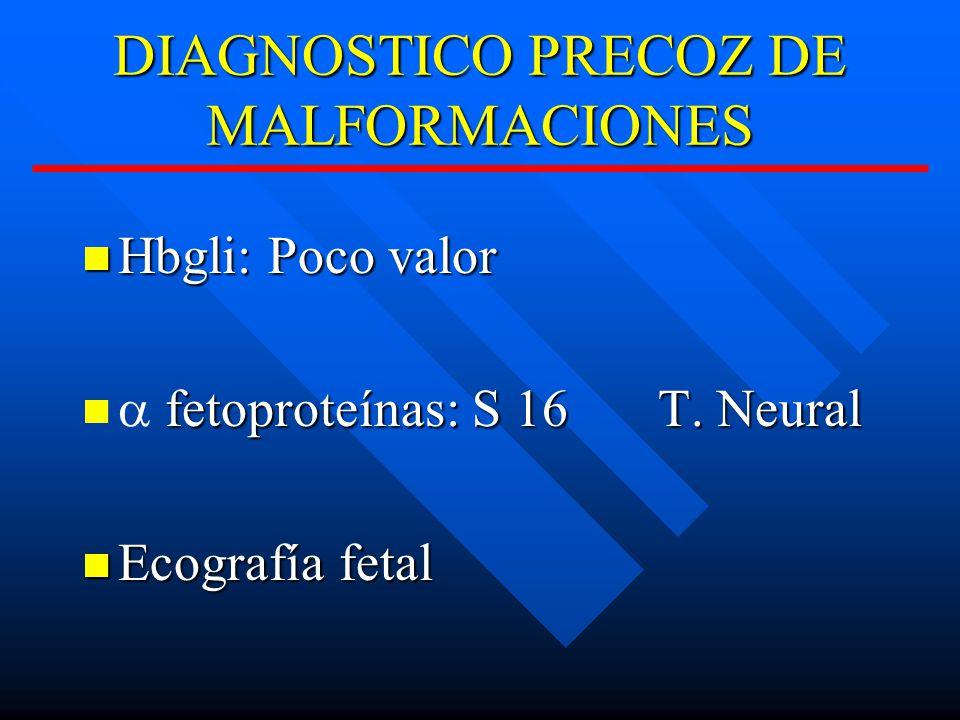 DIAGNOSTICO PRECOZ DE MALFORMACIONES Hbgli: Poco valor Hbgli: Poco valor fetoproteínas: S 16T.