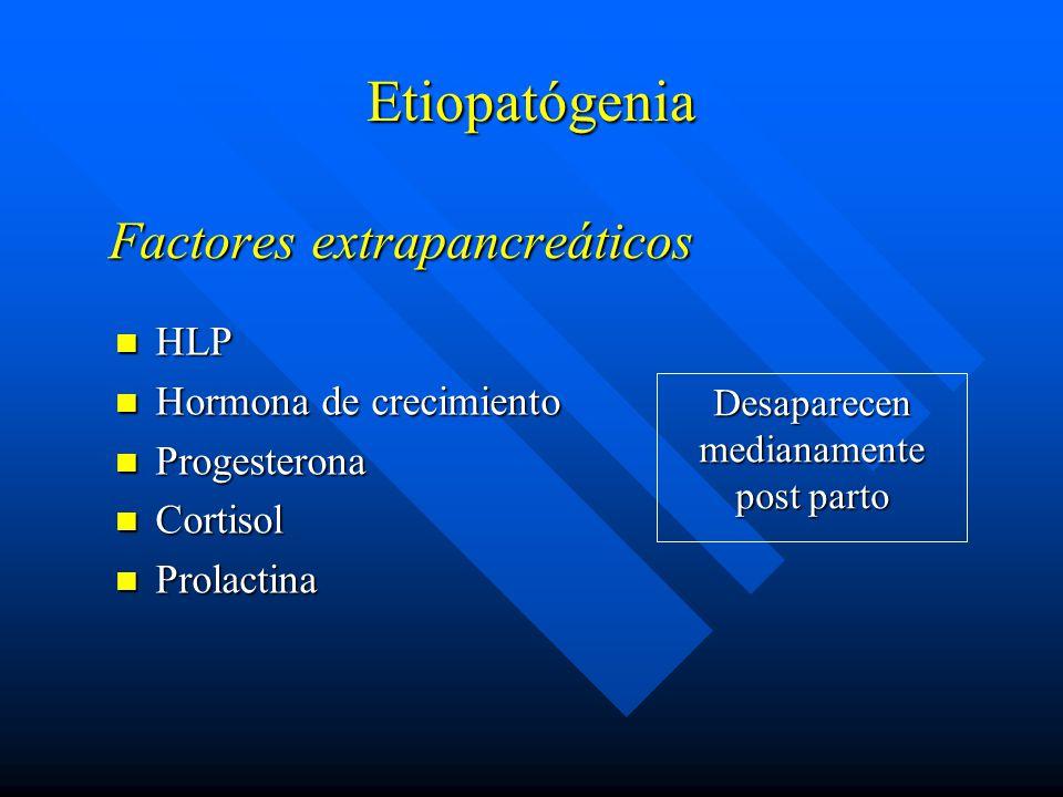 Factores extrapancreáticos HLP HLP Hormona de crecimiento Hormona de crecimiento Progesterona Progesterona Cortisol Cortisol Prolactina Prolactina Etiopatógenia Desaparecen medianamente post parto