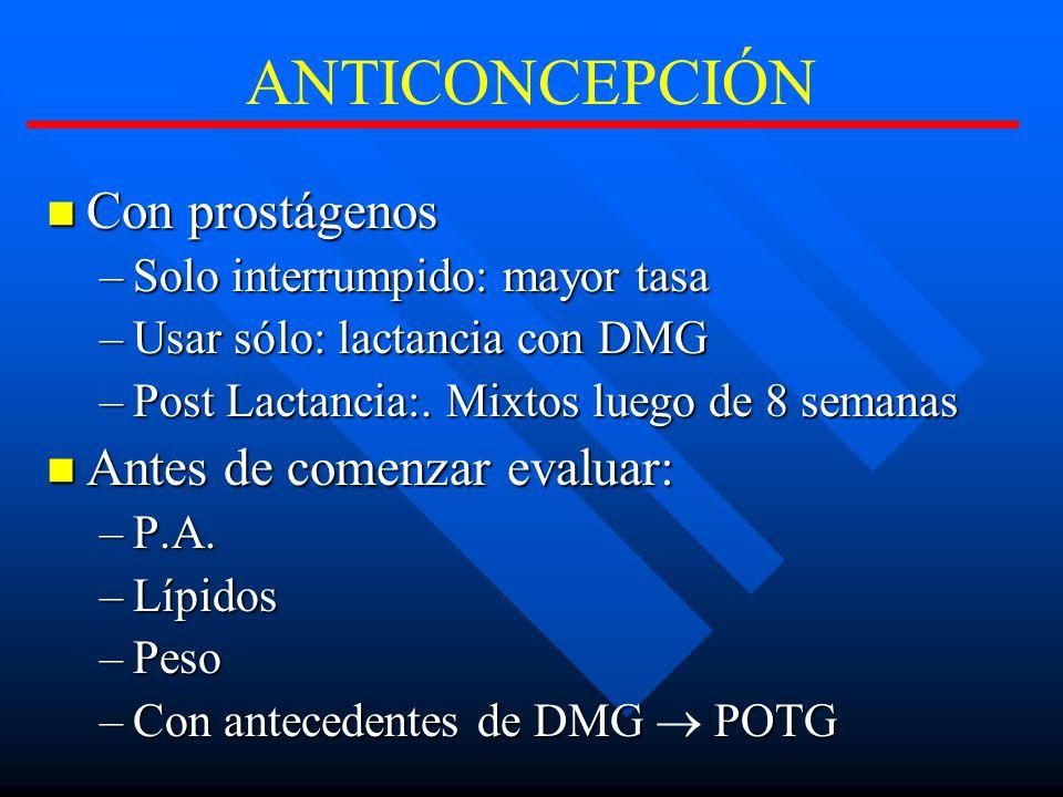 ANTICONCEPCIÓN Con prostágenos Con prostágenos –Solo interrumpido: mayor tasa –Usar sólo: lactancia con DMG –Post Lactancia:.