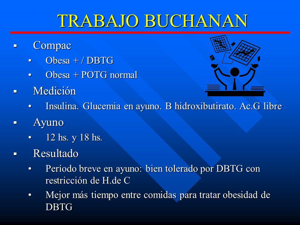 TRABAJO BUCHANAN Compac Compac Obesa + / DBTGObesa + / DBTG Obesa + POTG normalObesa + POTG normal Medición Medición Insulina.