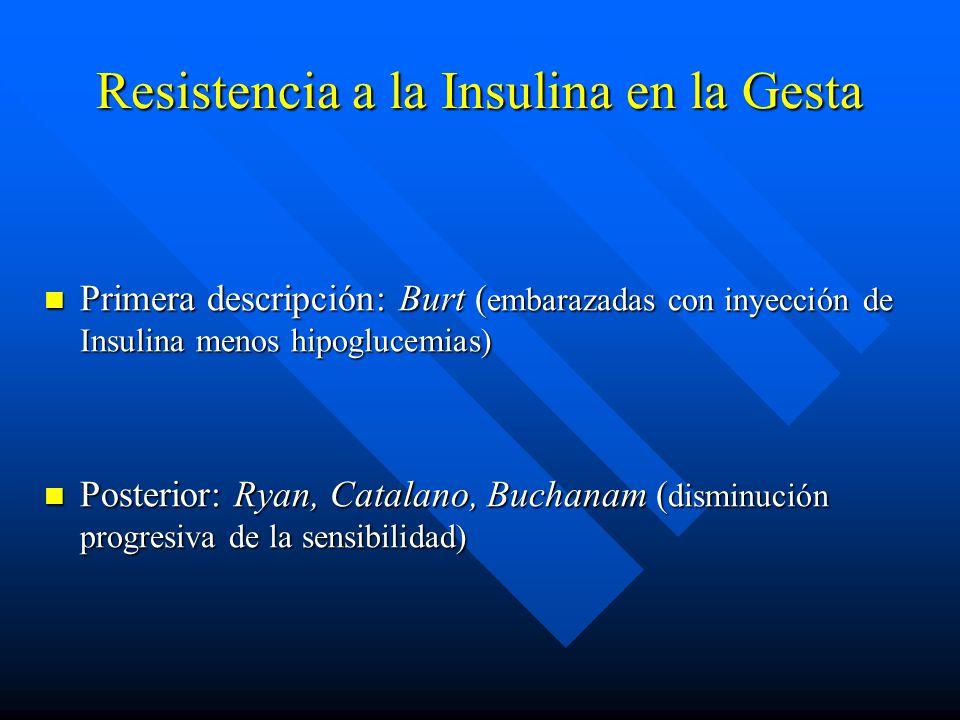 Resistencia a la Insulina en la Gesta Primera descripción: Burt ( embarazadas con inyección de Insulina menos hipoglucemias) Primera descripción: Burt ( embarazadas con inyección de Insulina menos hipoglucemias) Posterior: Ryan, Catalano, Buchanam ( disminución progresiva de la sensibilidad) Posterior: Ryan, Catalano, Buchanam ( disminución progresiva de la sensibilidad)