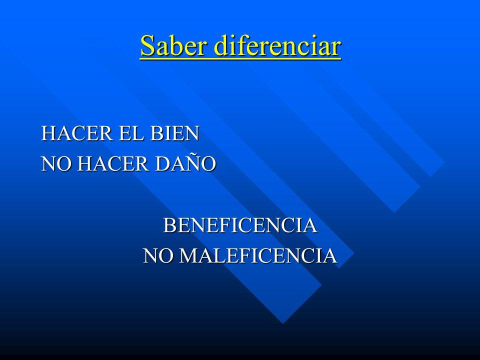 Saber diferenciar HACER EL BIEN NO HACER DAÑO BENEFICENCIA NO MALEFICENCIA