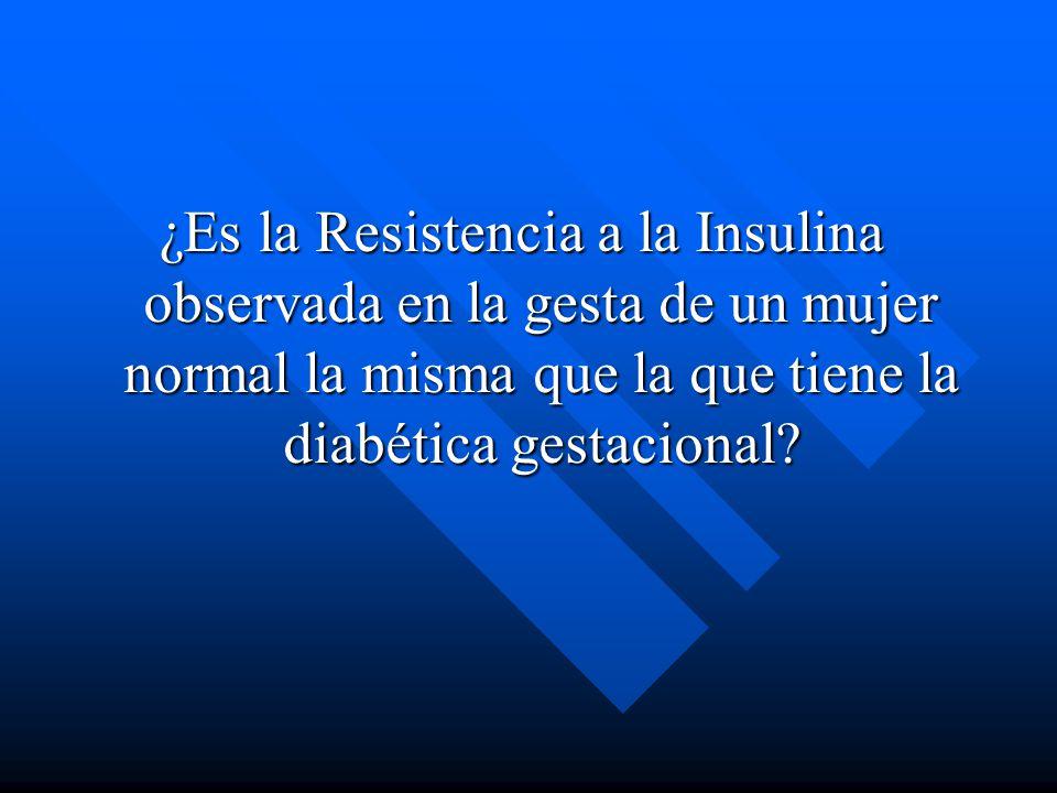 ¿Es la Resistencia a la Insulina observada en la gesta de un mujer normal la misma que la que tiene la diabética gestacional?