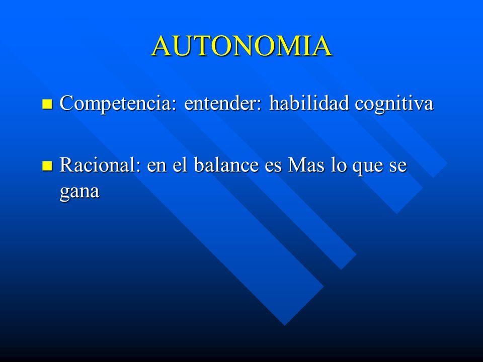 AUTONOMIA Competencia: entender: habilidad cognitiva Competencia: entender: habilidad cognitiva Racional: en el balance es Mas lo que se gana Racional: en el balance es Mas lo que se gana