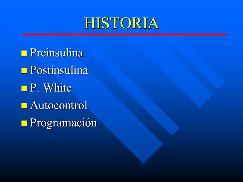 HISTORIA Preinsulina Preinsulina Postinsulina Postinsulina P.