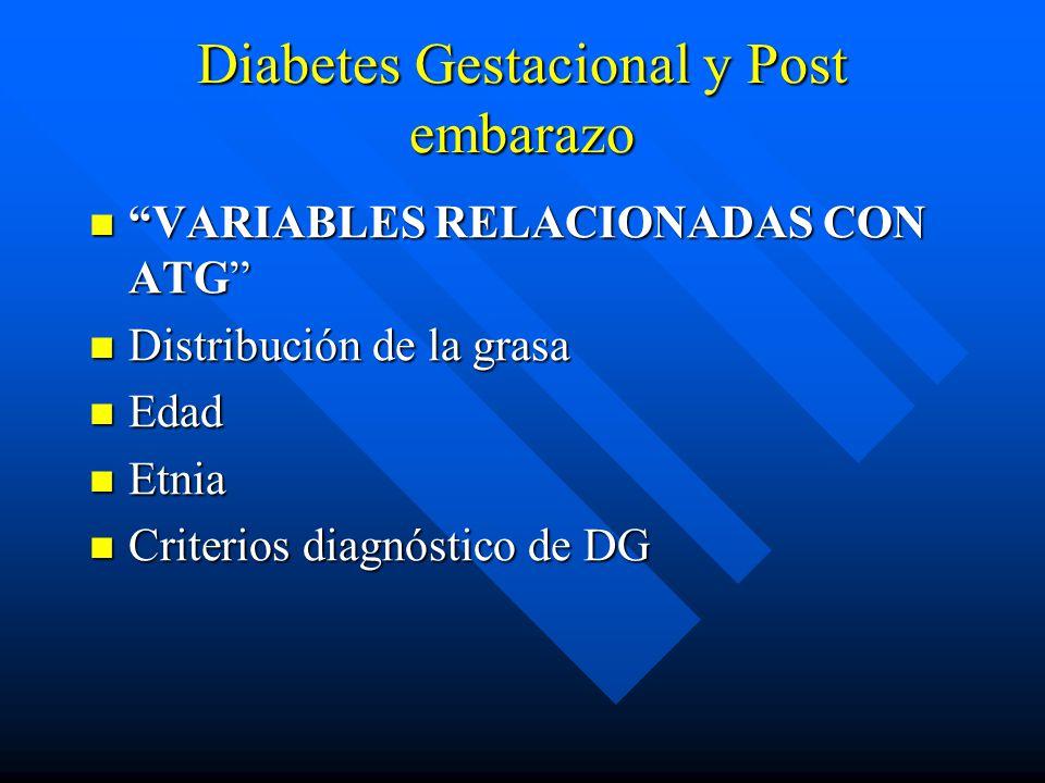 Diabetes Gestacional y Post embarazo VARIABLES RELACIONADAS CON ATG VARIABLES RELACIONADAS CON ATG Distribución de la grasa Distribución de la grasa Edad Edad Etnia Etnia Criterios diagnóstico de DG Criterios diagnóstico de DG