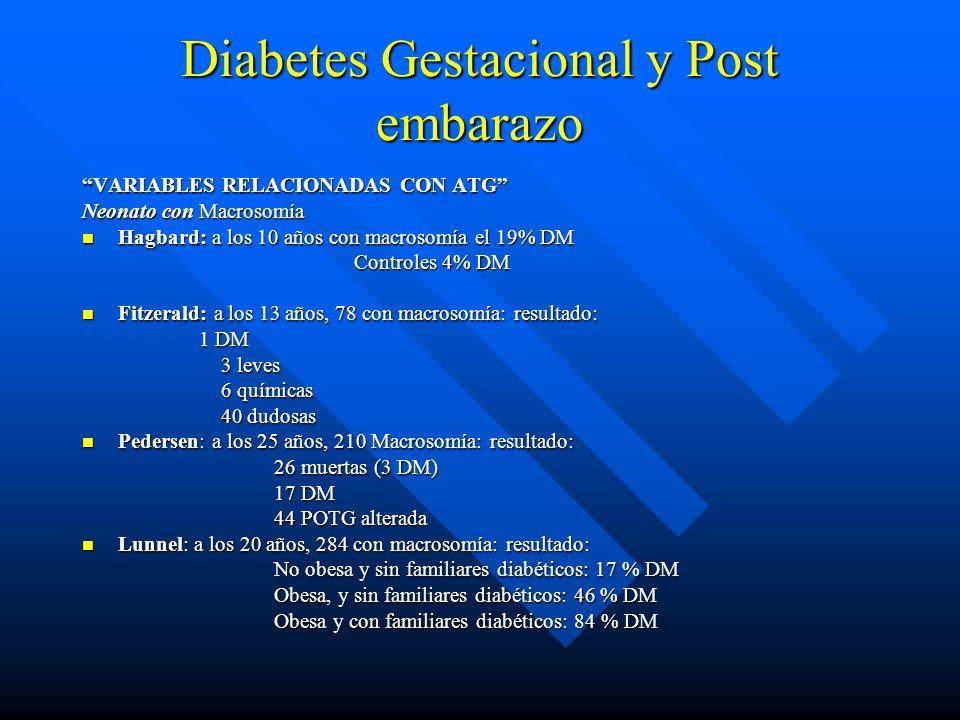 Diabetes Gestacional y Post embarazo VARIABLES RELACIONADAS CON ATG Neonato con Macrosomía Hagbard: a los 10 años con macrosomía el 19% DM Hagbard: a los 10 años con macrosomía el 19% DM Controles 4% DM Controles 4% DM Fitzerald: a los 13 años, 78 con macrosomía: resultado: Fitzerald: a los 13 años, 78 con macrosomía: resultado: 1 DM 1 DM 3 leves 3 leves 6 químicas 6 químicas 40 dudosas 40 dudosas Pedersen: a los 25 años, 210 Macrosomía: resultado: Pedersen: a los 25 años, 210 Macrosomía: resultado: 26 muertas (3 DM) 17 DM 44 POTG alterada Lunnel: a los 20 años, 284 con macrosomía: resultado: Lunnel: a los 20 años, 284 con macrosomía: resultado: No obesa y sin familiares diabéticos: 17 % DM Obesa, y sin familiares diabéticos: 46 % DM Obesa y con familiares diabéticos: 84 % DM