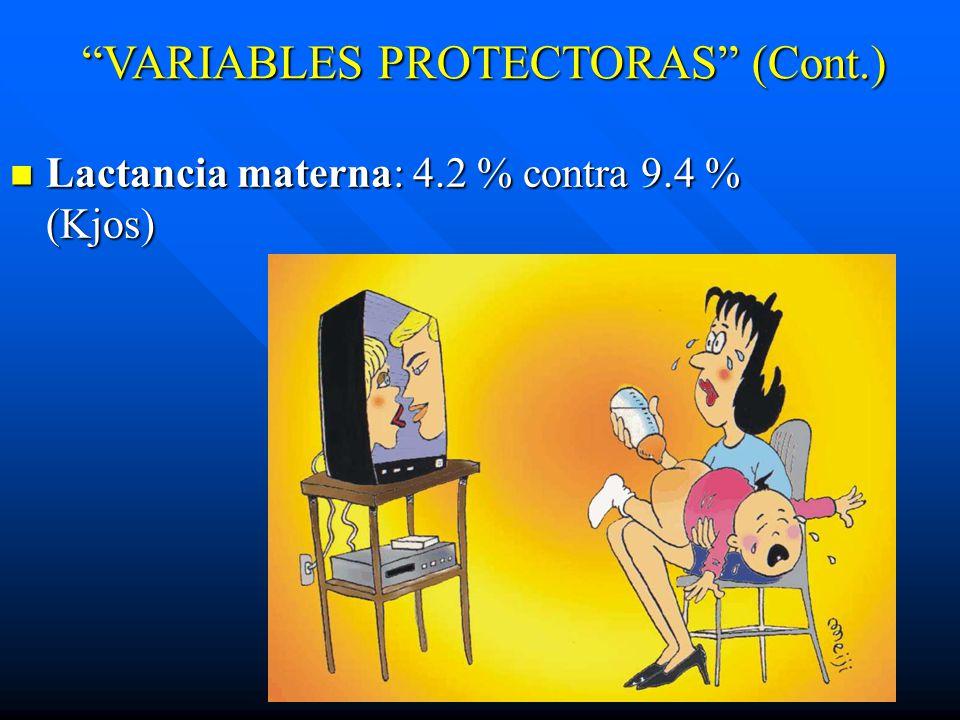 Lactancia materna: 4.2 % contra 9.4 % (Kjos) Lactancia materna: 4.2 % contra 9.4 % (Kjos) VARIABLES PROTECTORAS (Cont.)