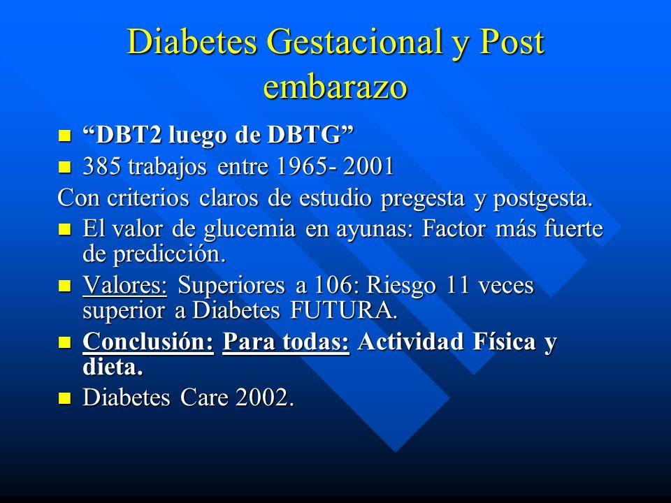 Diabetes Gestacional y Post embarazo DBT2 luego de DBTG DBT2 luego de DBTG 385 trabajos entre 1965- 2001 385 trabajos entre 1965- 2001 Con criterios claros de estudio pregesta y postgesta.