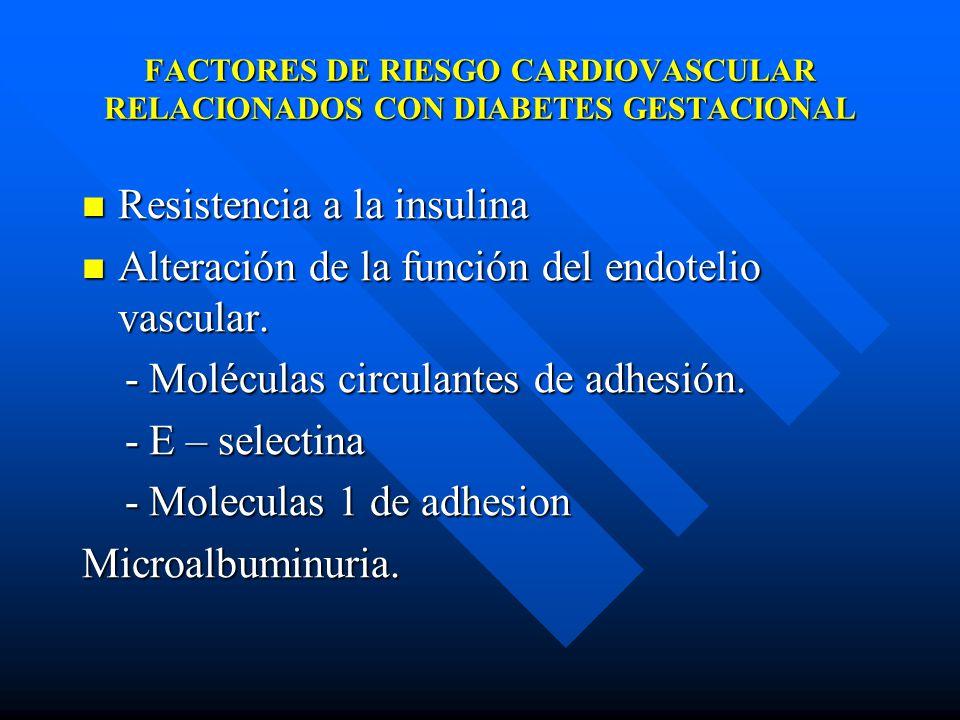 FACTORES DE RIESGO CARDIOVASCULAR RELACIONADOS CON DIABETES GESTACIONAL Resistencia a la insulina Resistencia a la insulina Alteración de la función del endotelio vascular.