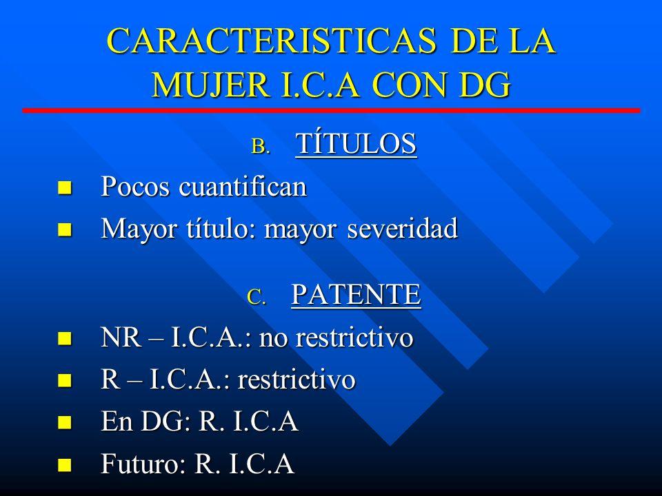 CARACTERISTICAS DE LA MUJER I.C.A CON DG B.