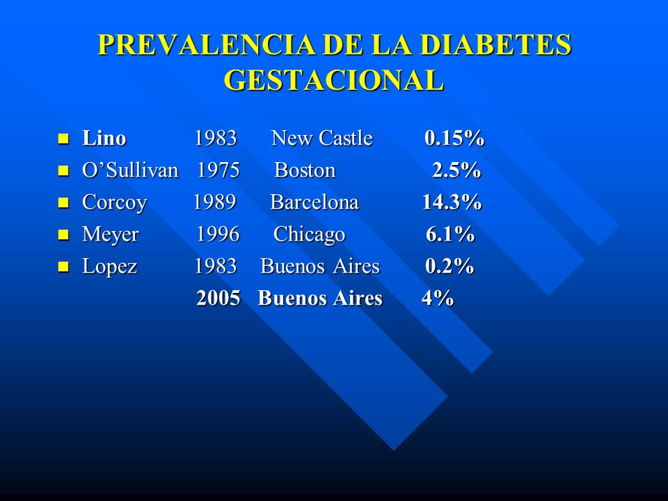 PREVALENCIA DE LA DIABETES GESTACIONAL Lino 1983 New Castle 0.15% Lino 1983 New Castle 0.15% OSullivan 1975 Boston 2.5% OSullivan 1975 Boston 2.5% Cor