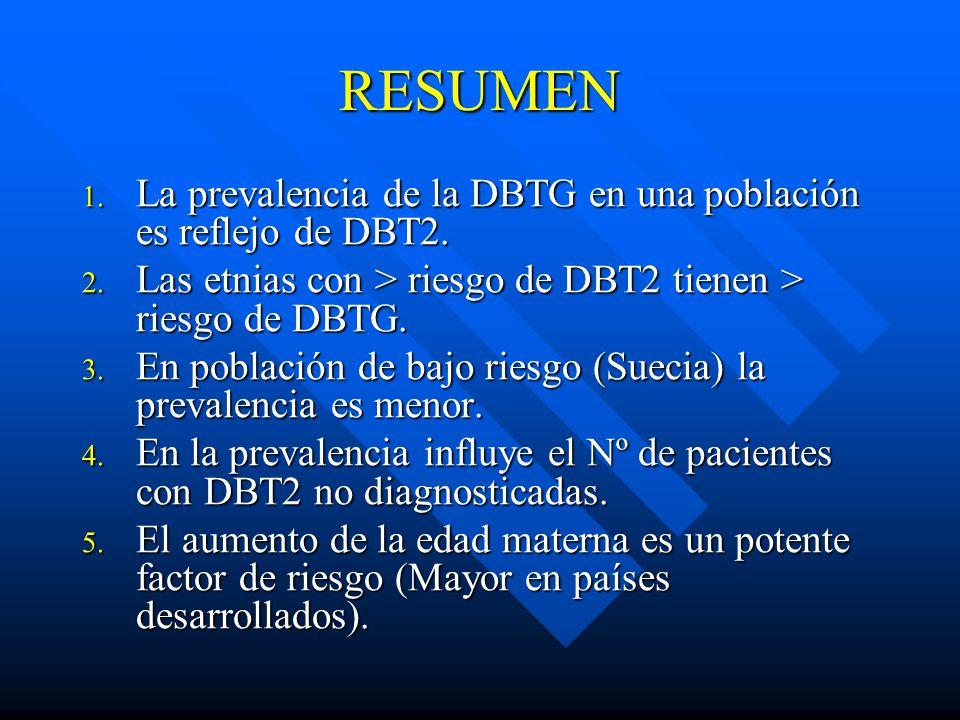 RESUMEN 1.La prevalencia de la DBTG en una población es reflejo de DBT2.