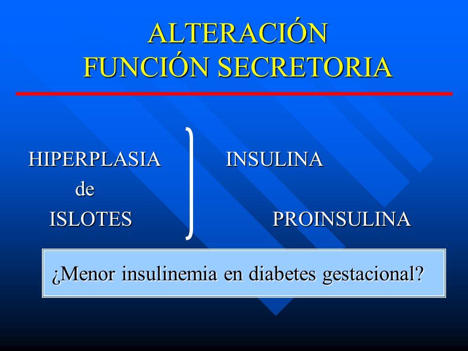 ALTERACIÓN FUNCIÓN SECRETORIA HIPERPLASIAINSULINA HIPERPLASIA INSULINAde ISLOTESPROINSULINA ISLOTES PROINSULINA ¿Menor insulinemia en diabetes gestacional?
