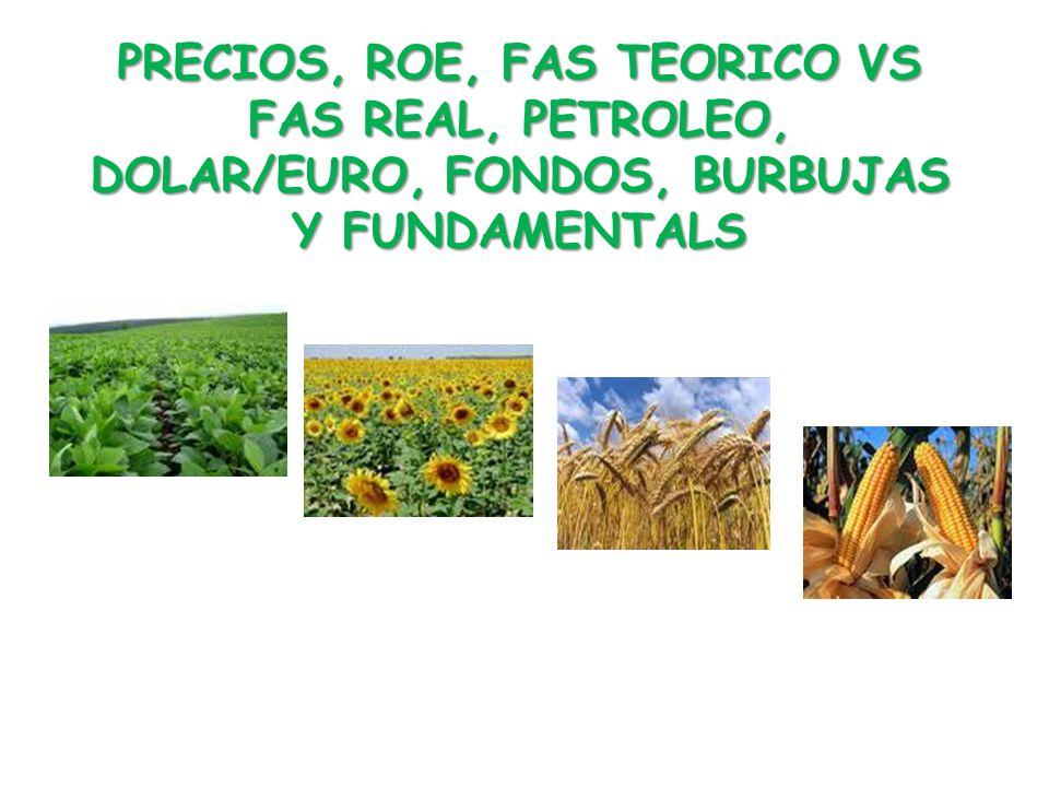 PRECIOS, ROE, FAS TEORICO VS FAS REAL, PETROLEO, DOLAR/EURO, FONDOS, BURBUJAS Y FUNDAMENTALS