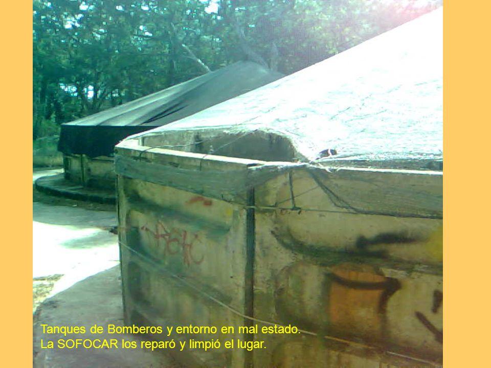 Tanques de Bomberos y entorno en mal estado. La SOFOCAR los reparó y limpió el lugar.