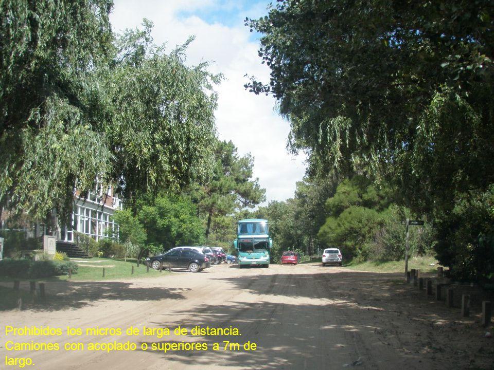 Prohibidos los micros de larga de distancia. Camiones con acoplado o superiores a 7m de largo.