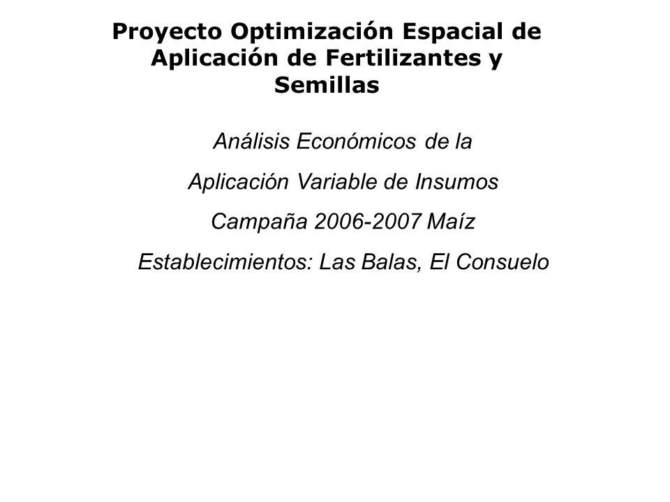 Proyecto Optimización Espacial de Aplicación de Fertilizantes y Semillas Análisis Económicos de la Aplicación Variable de Insumos Campaña 2006-2007 Maíz Establecimientos: Las Balas, El Consuelo