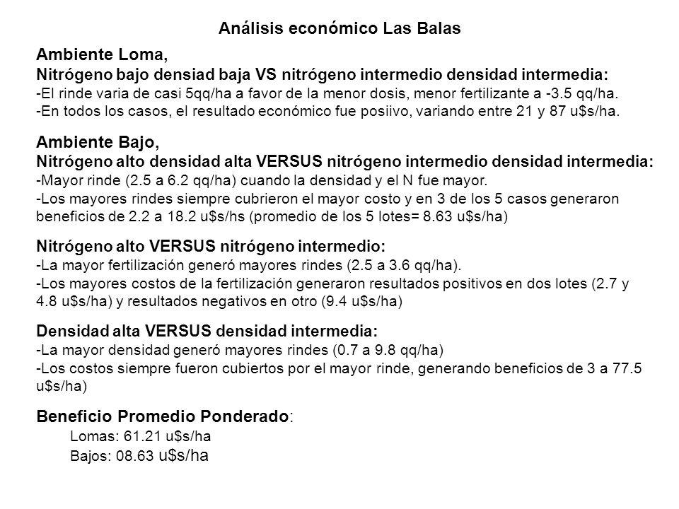 Análisis económico Las Balas Ambiente Loma, Nitrógeno bajo densiad baja VS nitrógeno intermedio densidad intermedia: -El rinde varia de casi 5qq/ha a favor de la menor dosis, menor fertilizante a -3.5 qq/ha.