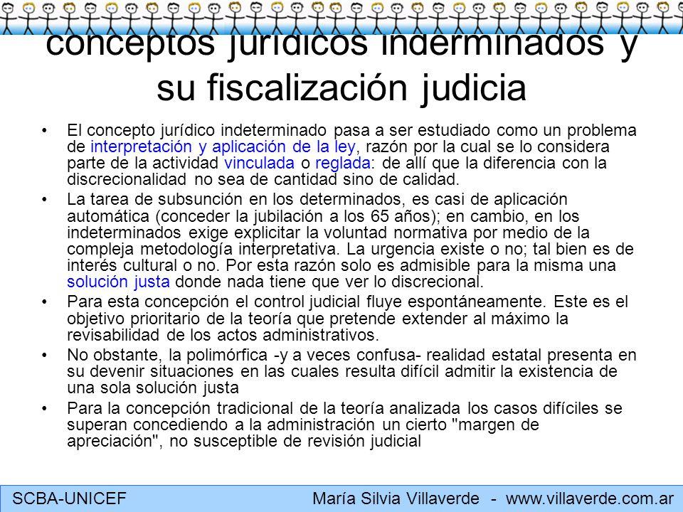 SCBA-UNICEF María Silvia Villaverde - www.villaverde.com.ar conceptos jurídicos inderminados y su fiscalización judicia El concepto jurídico indetermi