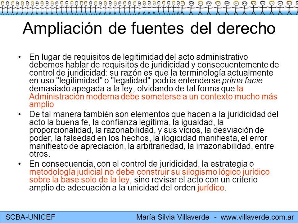 SCBA-UNICEF María Silvia Villaverde - www.villaverde.com.ar Ampliación de fuentes del derecho En lugar de requisitos de legitimidad del acto administr