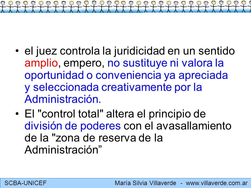 SCBA-UNICEF María Silvia Villaverde - www.villaverde.com.ar El contenido administrativo se integra: a) con pautas objetivables cuando sea posible (actividad reglada); b) con criterios técnicos o estándares tolerables en casos difíciles o complejos; c) con modalidades discrecionales ante varias soluciones igualmente válidas para el derecho.