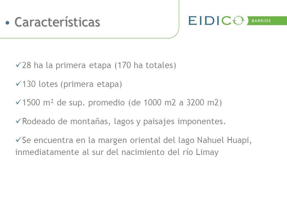 28 ha la primera etapa (170 ha totales) 130 lotes (primera etapa) 1500 m² de sup.