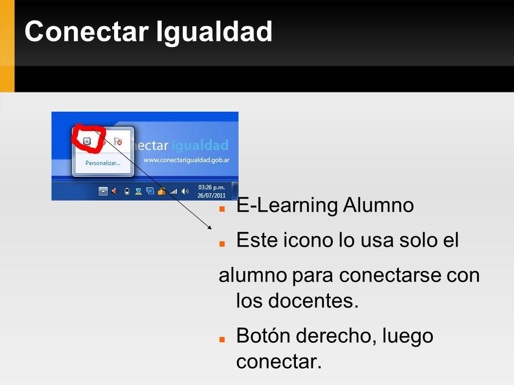 Conectar Igualdad E-Learning Alumno Este icono lo usa solo el alumno para conectarse con los docentes. Botón derecho, luego conectar.