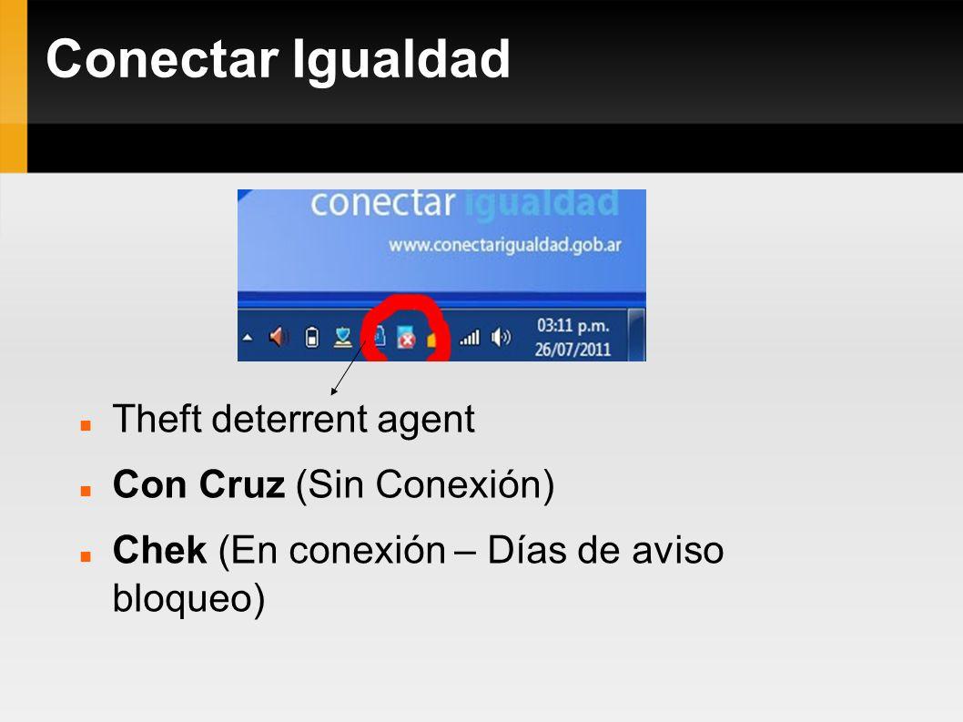 Theft deterrent agent Con Cruz (Sin Conexión) Chek (En conexión – Días de aviso bloqueo)