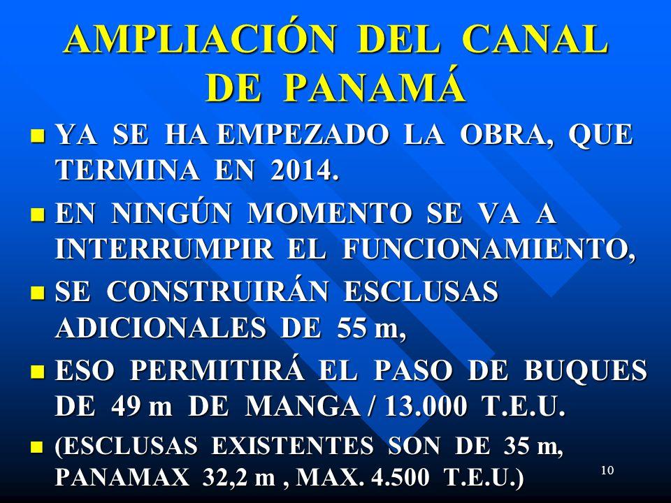 AMPLIACIÓN DEL CANAL DE PANAMÁ YA SE HA EMPEZADO LA OBRA, QUE TERMINA EN 2014. YA SE HA EMPEZADO LA OBRA, QUE TERMINA EN 2014. EN NINGÚN MOMENTO SE VA
